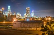 Stock Photo of charlotte city skyline night scene