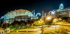 charlotte city skyline night scene - stock photo