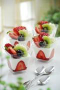 yogurt in a glass - stock photo