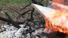 Burning plywood - close up Stock Footage