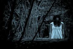 Horror scene of a scary woman Stock Photos