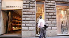 Burberry store in Rome - stock footage