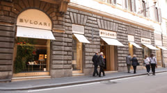 Bulgari store in Rome Stock Footage