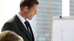 Confident businessman giving presentation of a graph Stock Footage