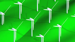 Isometric wind turbine field, power, electricity, generator. Stock Footage