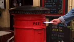 Red post box Stock Footage