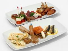 Entree tasting plates Stock Photos