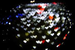bokeh - hearts - stock photo