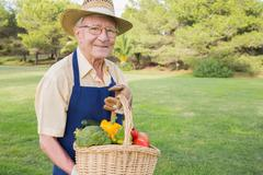 Elderly man carrying basket of vegetables Stock Photos