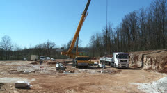 Cranes and workers on the site 3 Stock Footage