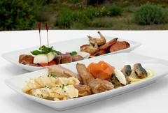 entree tasting plates - stock photo