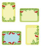 Set tags with rowanberry - stock illustration