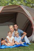 Stock Photo of Family camping holiday