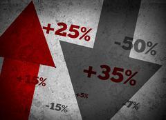 Market statistics on grey wall Stock Photos