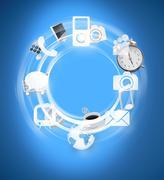 Wheel of erilaisten tietoteknisten sovellusten Kuvituskuvat