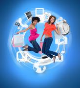 Wheel of various computer applications with women jumping - stock photo
