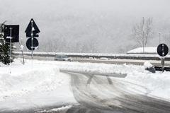 motorway snow - stock photo