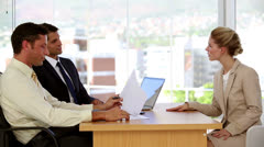 Female applicant during job interview Stock Footage