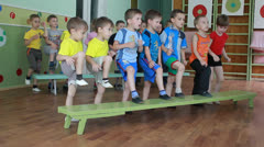 Preschool children on sports training Stock Footage