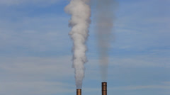 Factory smokestacks - stock footage