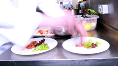 Time lapse of busy team of chefs preparing food in a commercial kitchen Stock Footage