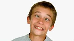 Little boy crossing his eyes Stock Footage