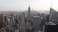 Aerial View of Empire State Building, NYC Skyline, Midtown Manhattan Stock Footage