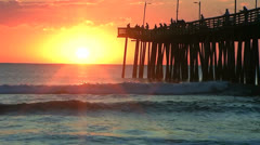 Sunrise fishing pier Stock Footage