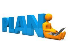 Manikin laptop plan Stock Illustration