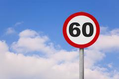 round roadsign with number 60 - stock photo