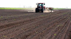 Tractor and seeder Stock Footage