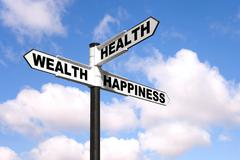 Health wealth happiness signpost Stock Photos