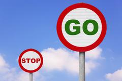 round roadsigns with go and stop on - stock photo