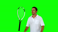 Stock Video Footage of Tennis player throwing his racket