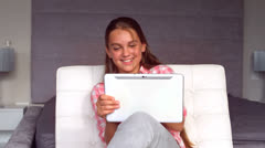Girl using a tablet Stock Footage