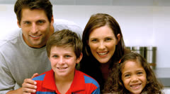 Family spending time together in the kitchen Stock Footage