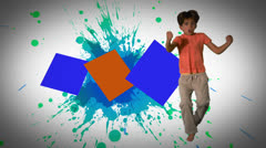 Montage of children jumping and playing in slow motion Stock Footage