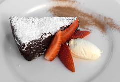 Chocolate & almond torte Stock Photos