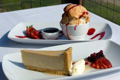 brown sugar panna cotta cheesecake & bombe alaska - stock photo