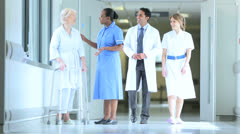 Hospital Staff Patient Physical Therapy Walking Aid Stock Footage