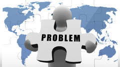 White figure holding jigsaw pieces to solve business problem Stock Footage