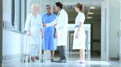 Hospital Patient Receiving Care Medical Staff Geriatric Consultant Stock Footage