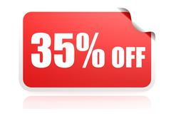 35 percent off sticker - stock illustration