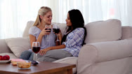 Stock Video Footage of Attractive friends clinking their glasses of red wine together