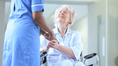 Caring African American Nursing Staff Older Female Patient Stock Footage