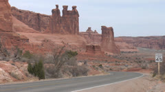 Arches National Park- Three Gossips, Moab, Utah Stock Footage