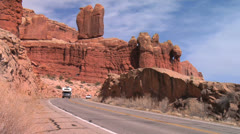 RV Camper at Arches National Park, Moab Utah Stock Footage