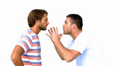 Man about to fight another man on white background Stock Footage