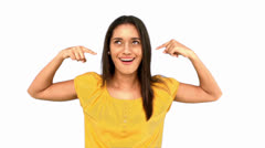 Woman making crazy gesture on white background Stock Footage