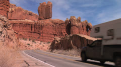 RV Camper at Arches National Park, Moab, Utah 2 Stock Footage